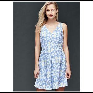 NWT GAP Linen Fit & Flare Dress Light Blue Print